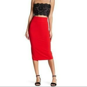 Free People Red Bodycon Stretch Midi Skirt